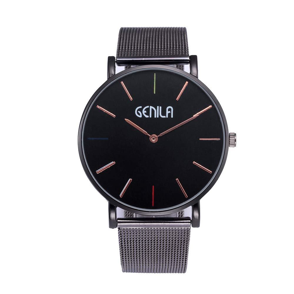 Amazon.com: Womens Mens Wrist Watches Iuhan Classic Casual Women Watch Stainless Steel Clock Male Quartz Mesh Belt Wristwatch (Black 2): Cell Phones & ...