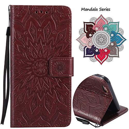 Leather Wallet Case for iPhone 6/6s with [Tempered Glass Screen Protector], Anti Scratch Luxury Mandala Card Holder Embedded Durable Detachable Magnetic Flip Cover Kickstand case for 6/6s (Brown)