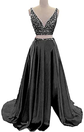 ad03a33195 BessDress Two Piece V Neck Prom Dresses Beads Formal Party Dresses with  Split BD397
