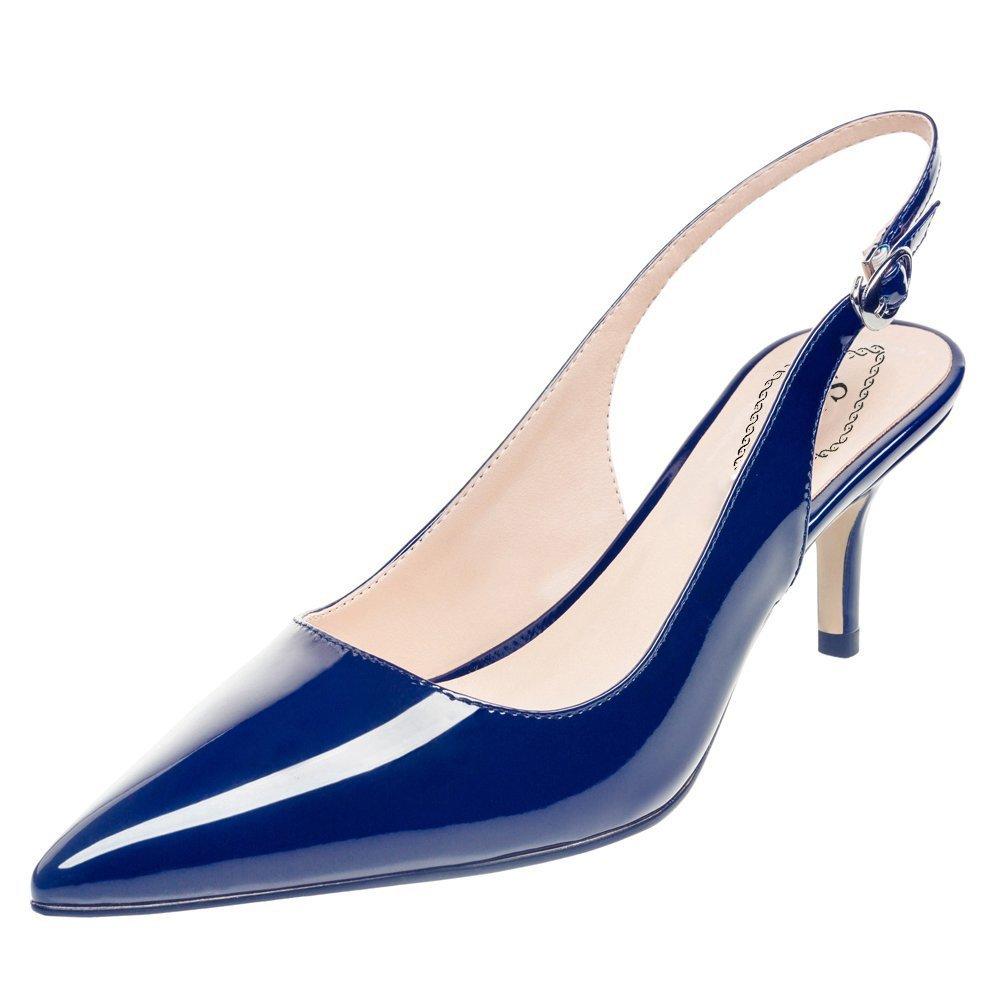 EDEFS Damen Kitten-Heel Slingback Pumps Spitze 6.5cm Mittlerer Absatz Pointed Toe Schuhe  38 EUGr篓鹿n