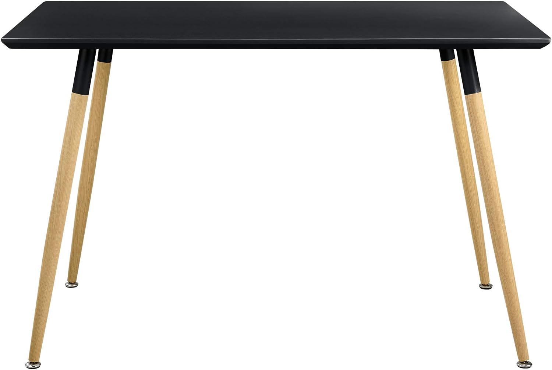 [en.casa] Retro Design Dining Table White - 120 x 70 cm - 4 Person Table Black