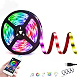 Felizamor Smart LED Strip Lights Bluetooth Smartphone APP Control, RGB 5050 Color Changing Flexible Waterproof TV…