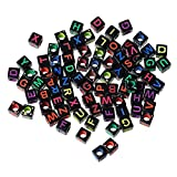 HOUSWEETY 500PCs Mixed Acrylic Letter/ Alphabet Cube Beads Spacer Beads 6mm x6mm