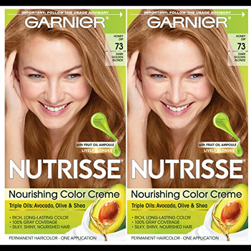 Garnier Hair Color Nutrisse Nourishing Creme, 73 Dark Golden Blonde (Honey Dip), 2 Count