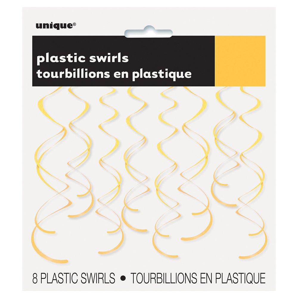 26'' Plastic Hanging Swirl Yellow Decorations, 8ct
