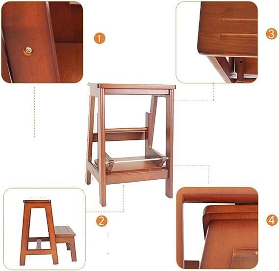 RENJUN Escalera Plegable de Doble Uso Escalera de Madera Maciza Taburete de la Escalera de 2 Pasos Taburete de Madera Banco de pie Soporte de Flor Escalera (Color : B): Amazon.es: Hogar