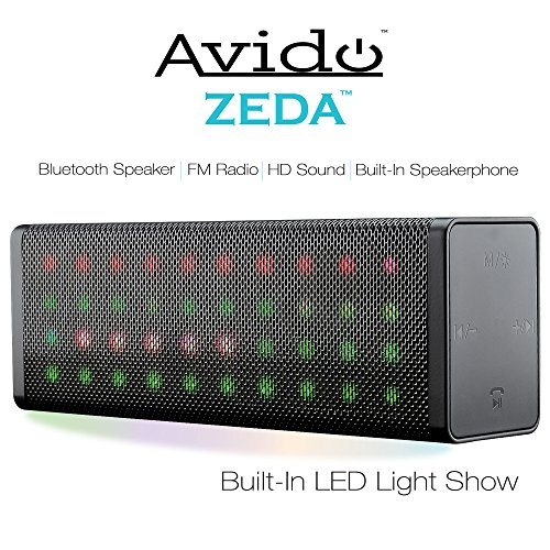 Avido ZEDA Portable Full LED Light Show Wireless Bluetooth Speaker- HD Sound, Built-In Speakerphone, FM Radio, Aux Connection, USB Mode, TF Card Mode, Voice Prompts, and Rechargeable Battery