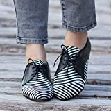 Black and White Handmade Leather Women's Oxford Shoes