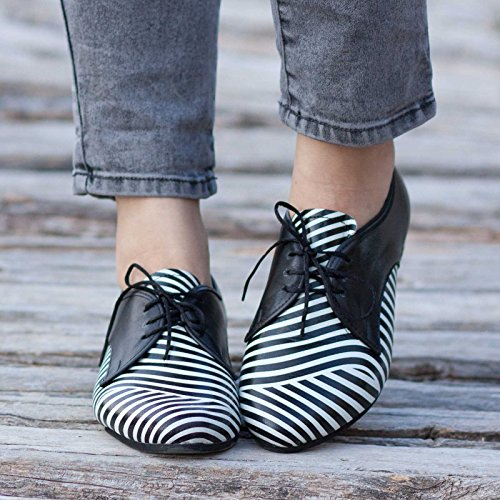 Black and White Handmade Leather Women's Oxford Shoes by Bangi Shoes
