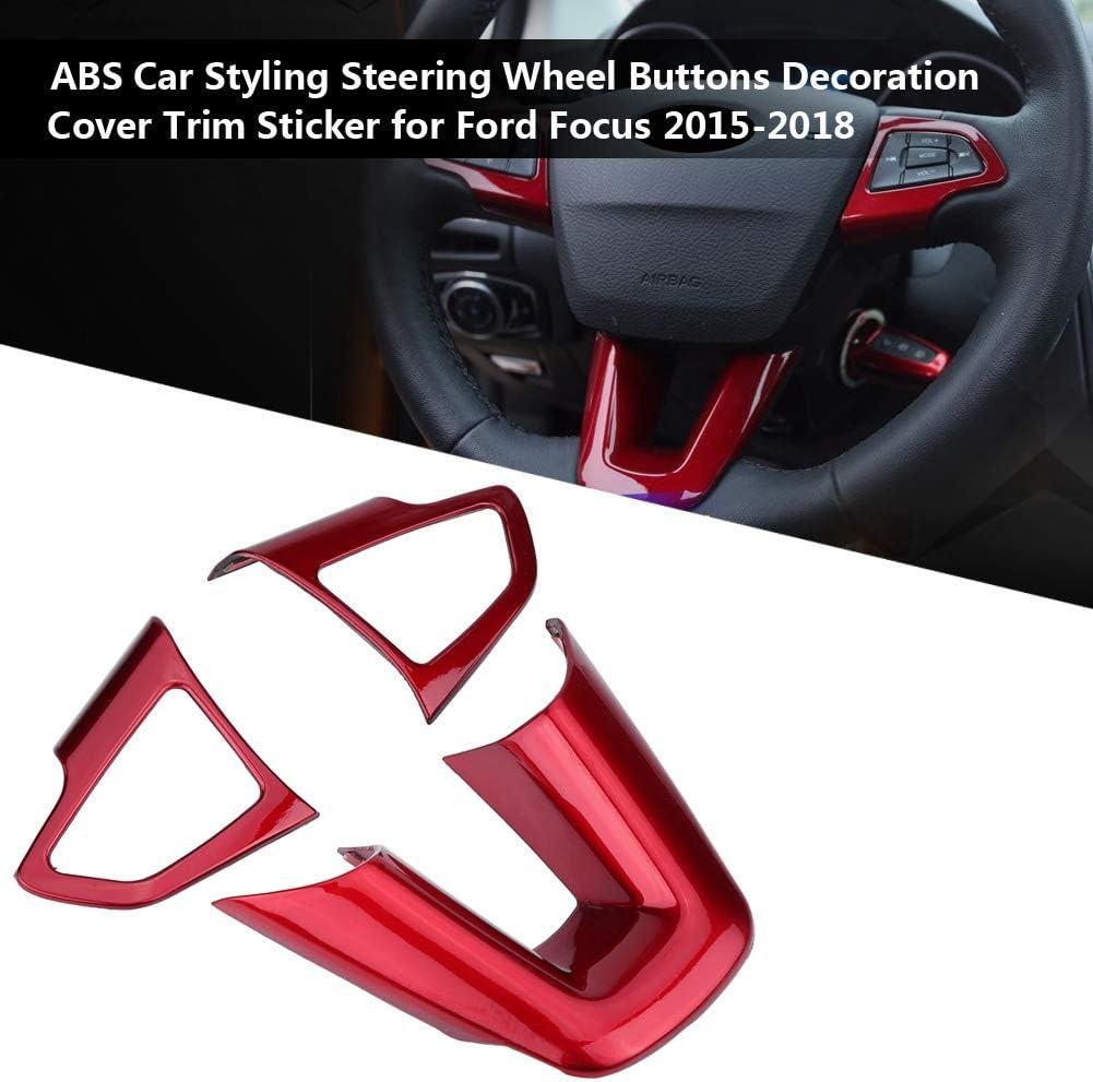 KIMISS 3Pcs ABS Car Styling Volante Pulsanti Decorazione Cover Trim Sticker Decorazione