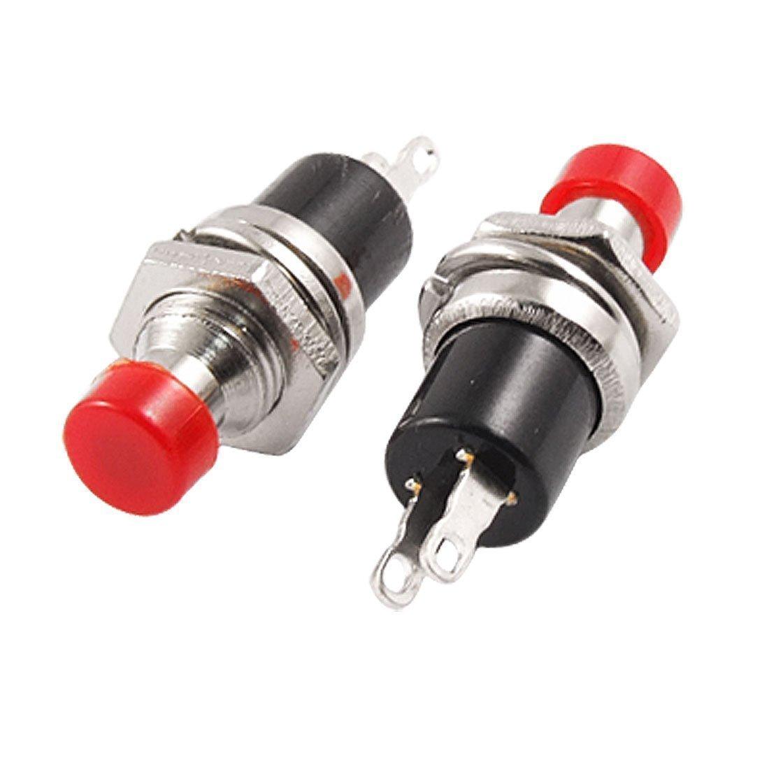 5X Interrupteur bouton poussoir momentan/é rond rouge AC250V 1A N//O marche//arr/êt SPST 2 broches
