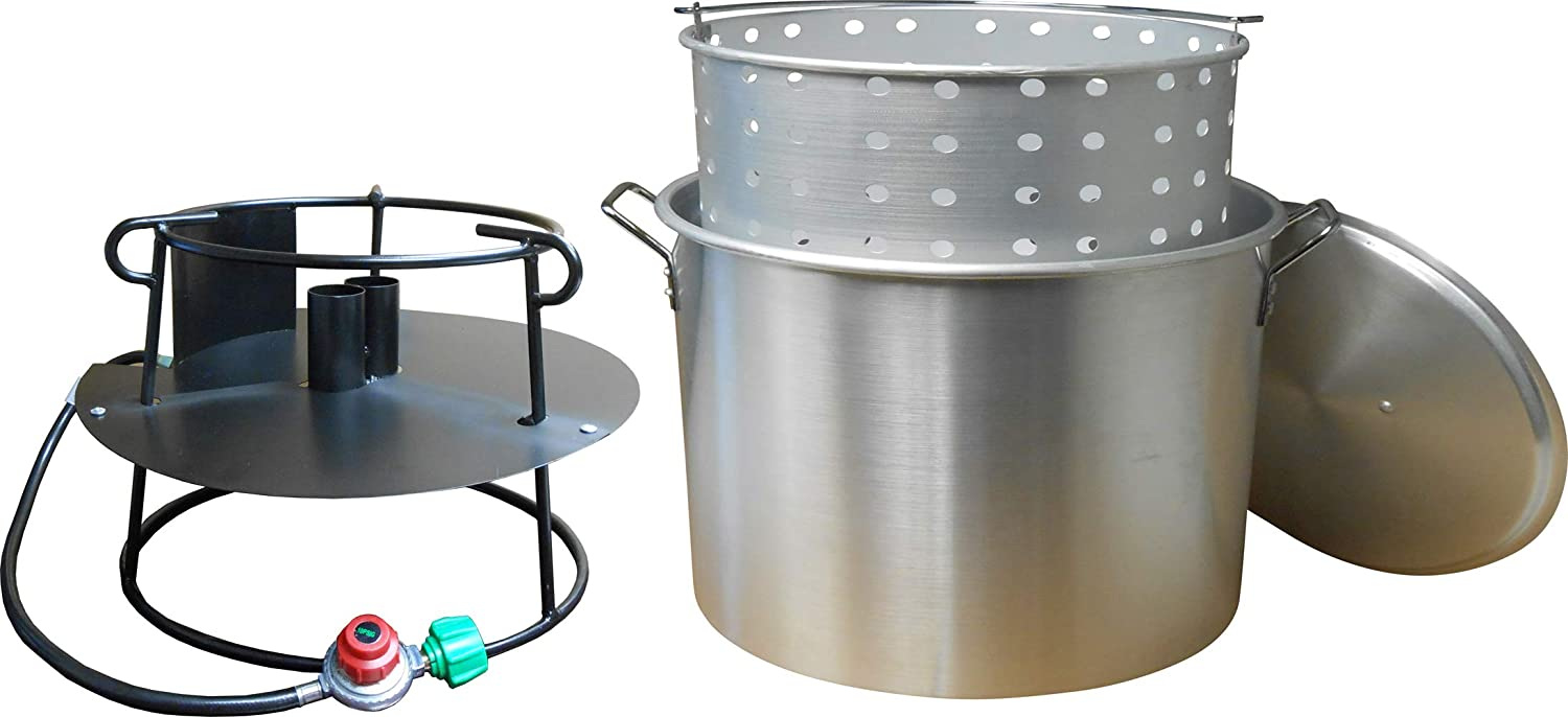 King Kooker 9013N King KookerPortable Propane Boiling Package with 90 Qt. Aluminum Pot, Basket, Lid and Double Jet Burner Outdoor Boiler, Silver