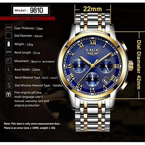 Mens Watches Waterproof Chronograph Stainless Steel Analog Quartz Watch Men Luxury Brand Fashion Dress Business Wristwatch