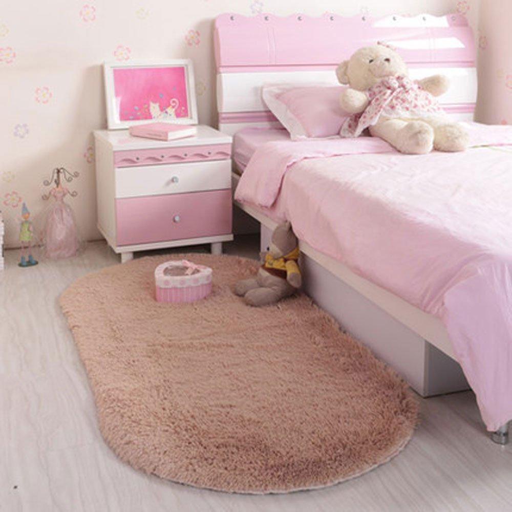 "RuiHome Oval Shape Plush Shag Area Rug for Bedroom Bedside Playroom Hardwood Floor Home Decor (24'' x35"", Brown)"
