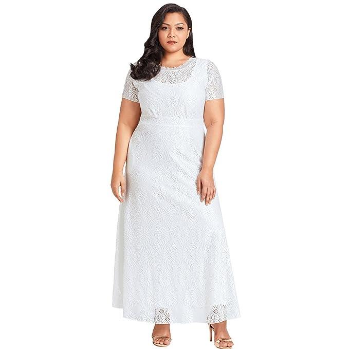 Vestidos Señoras encaje cuello redondo manga corta XL color sólido: Amazon.es: Ropa y accesorios