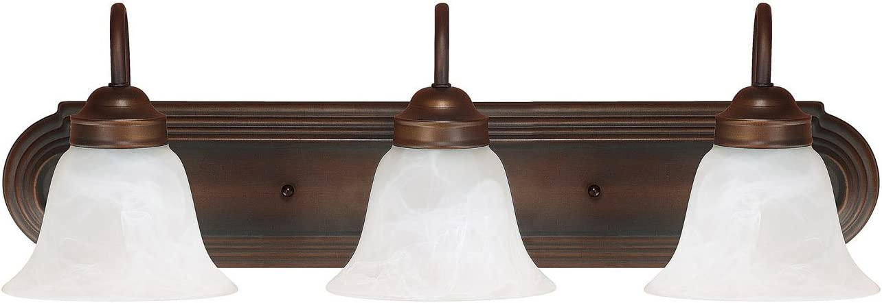 Capital Lighting 1033BB-118 Traditional 3-Light Vanity Fixture, Burnished Bronze Finish with White Faux Alabaster Glass
