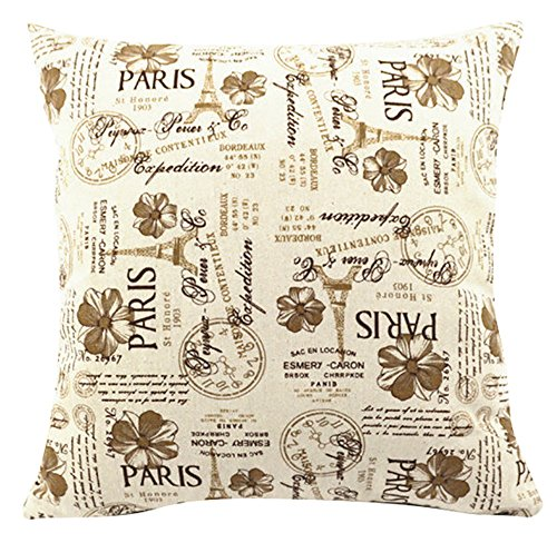 Multi-sized Eiffel Tower Printed Stuffed Cushion LivebyCare Linen Cotton Cover Filling Stuffing Throw Pillow Insert Filler Pattern Zipper For Home Sofa Couch Chair Back Seat