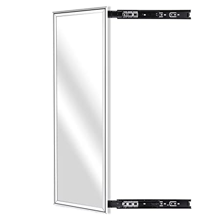 KDKD Closet Mirror Mounted with Telescopic Rail for Wardrobe, Rectangle Sliding Body Mirror. 39.3 X13.8 , Aluminum Alloy Framed, Sliver .