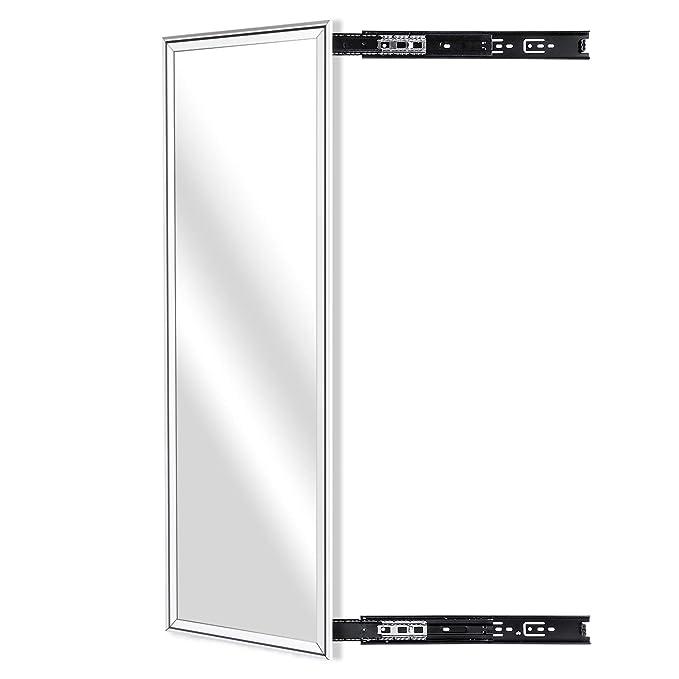 "KDKD Closet Mirror Mounted withTelescopic Rail for Wardrobe, Rectangle Sliding Body Mirror.(39.3""X13.8"", Aluminum Alloy Framed, Sliver)."