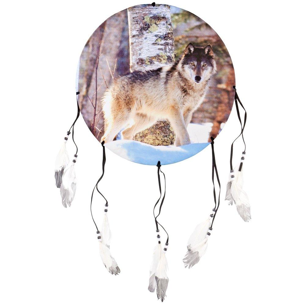 Animal World - Wolf Standing in Snow Woods Dream Catcher - Multi