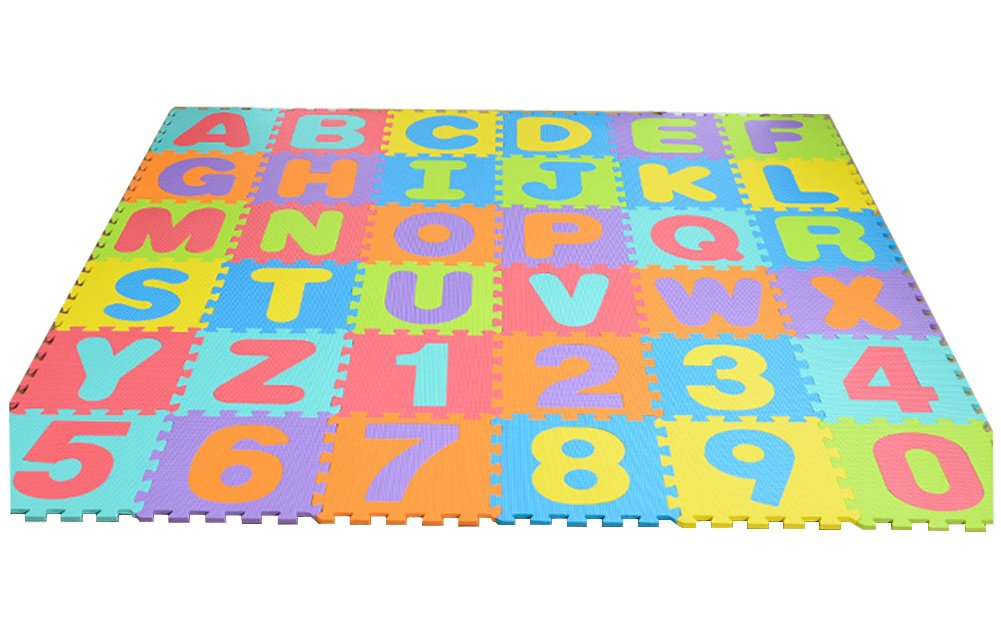 Julvie 36 Tiles Interlocking EVA Foam Puzzle Play Mat with Removable Letters and Numbers