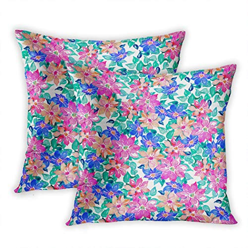 Meofo Set of 2 Throw Pillow Cover Romantic Watercolor Wallpaper Pattern Design with Flowers and Leaves Decorative Polyester Soft Pillowcase Sofa Cushion Bedroom Car Square 18 x 18 Inch