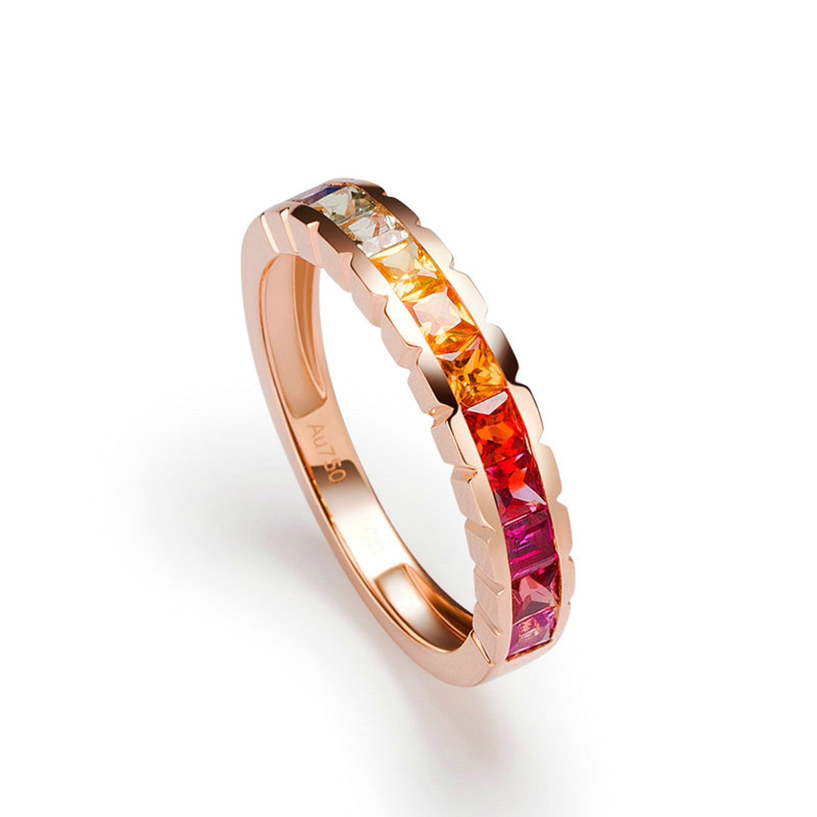 Gnzoe Rose Gold Women Wedding Rings Solitaire Promise Rings Rose Gold with Colorful 1.25ct Sapphire Size 7.5