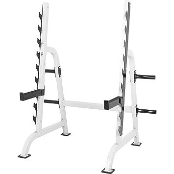 Gorilla Sports Power Squat Rack, Soporte blanco para realizar sentadillas con pesas, con soporte para pesas: Amazon.es: Deportes y aire libre