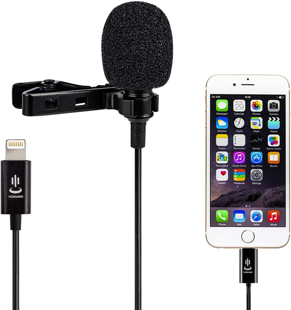 Interview Microphone Professional for iPhone Lavalier Lapel Omnidirectional Condenser Mic Phone Audio Video Recording Easy Clip-on Lavalier Mic for Youtube Conference for iPhone//iPad//iPod(9.8ft)