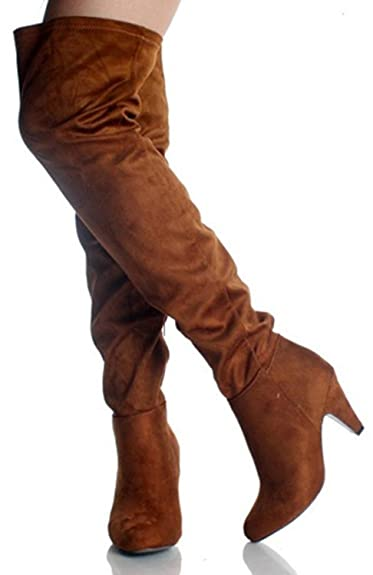 Amazon.com | Breckelle'S Leann-11 Tan Faux Suede Leather Thigh ...