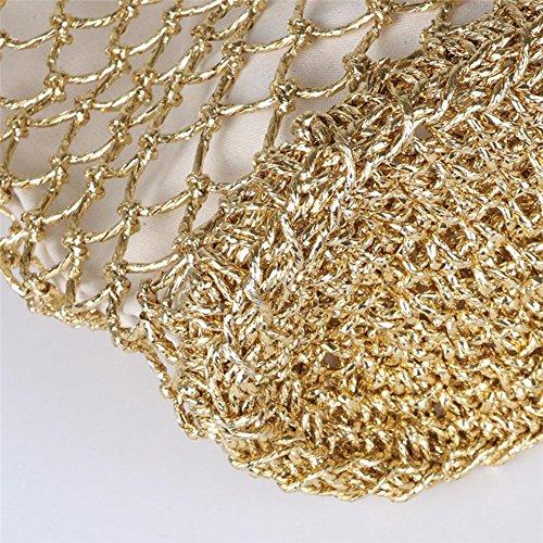 Oro Bolsa Monótono playa Malla de ganchillo plisadas Pouch de trenzado playa Bolsa paja CutOut manualmente paja asas bolso 7ITBWIq