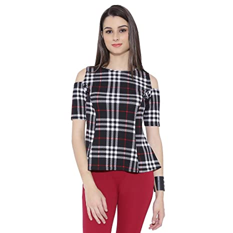 Chimpaaanzee Women Black  amp; White Checkered Cold Shoulder Top Tops