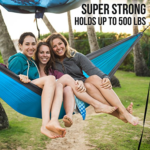Foxelli #1 Camping Hammock – Ultralight Nylon Portable Parachute, Best for Light Backpacking Survival Beach Travel & Backyard Fun – Tree Ropes and Carabiners Included, 2 – Person