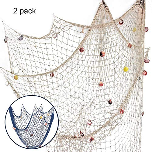 Nature Fish Net Wall Decoration with Shells, Ocean Themed Wall Hangings Fishing Net Party Decor for Pirate Party,Wedding,Photographing Decoration ¡­ -