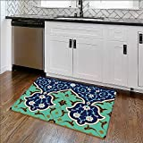 Thick Soft Plush Living Room Rug arabic border traditional islamic design Easy Clean Resistant W17'' x H14''