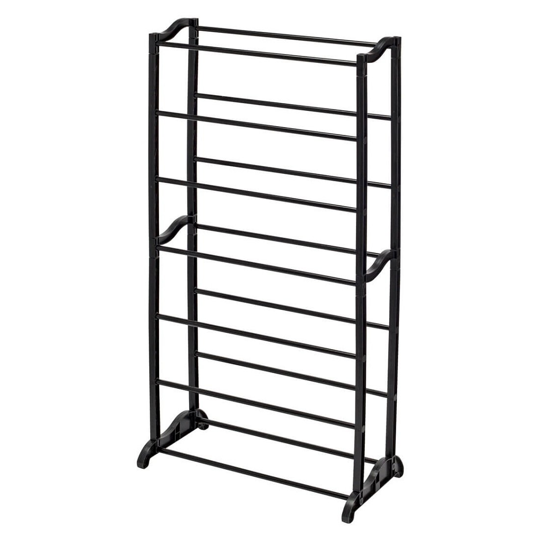 MS Home 7-Tier Tower Type Black Plastic Steel Shoe Rack Organizer - Easy-to-Assemble, Heavy Duty, Space-Saver - 20.5'' W x 6.25'' D x 36.5'' H