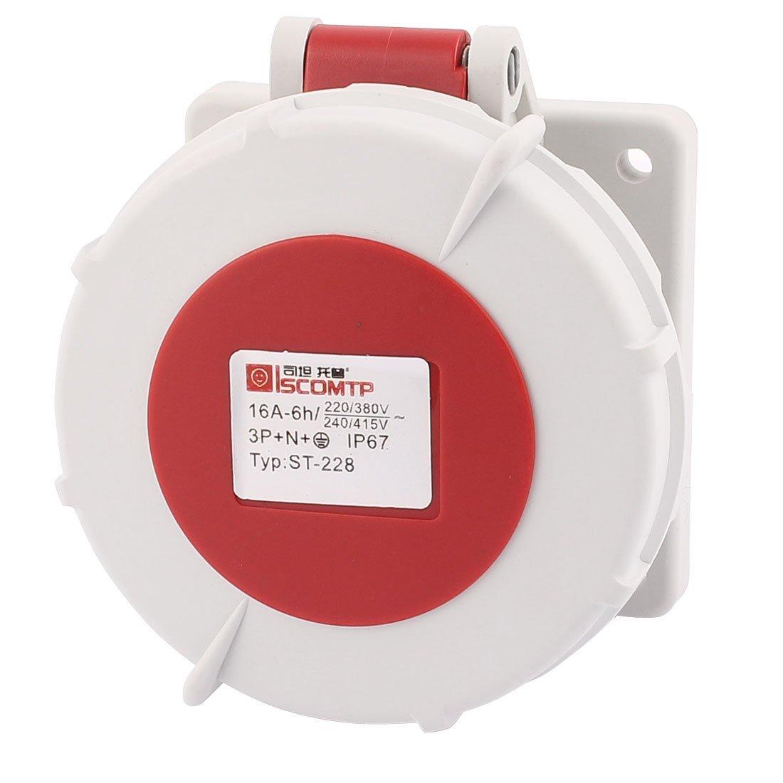 eDealMax AC 240V-415V 16A IP67 3P + N + E 5-terminal hembra Industrial Socket Straight - - Amazon.com