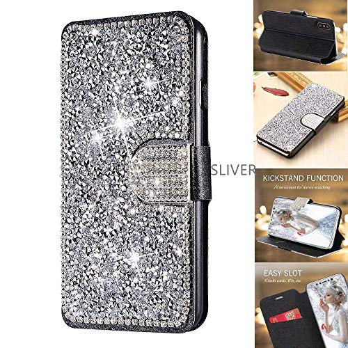 - iPhone XR Case, 6.1 Inch (2018) Wallet Case, DECVO Glitter Diamond Bling Rhinestone Flip Case Magnetic Bright Crystal Protective Leather with Card Slot and Kickstand for iPhone XR (Silver)