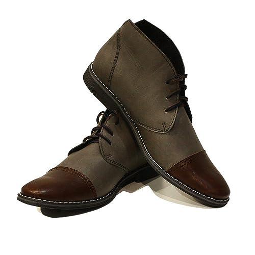 Modello Boris - Cuero Italiano Hecho A Mano Hombre Piel Gris Chukka Botas Botines - Cuero Cuero Suave - Encaje: Amazon.es: Zapatos y complementos
