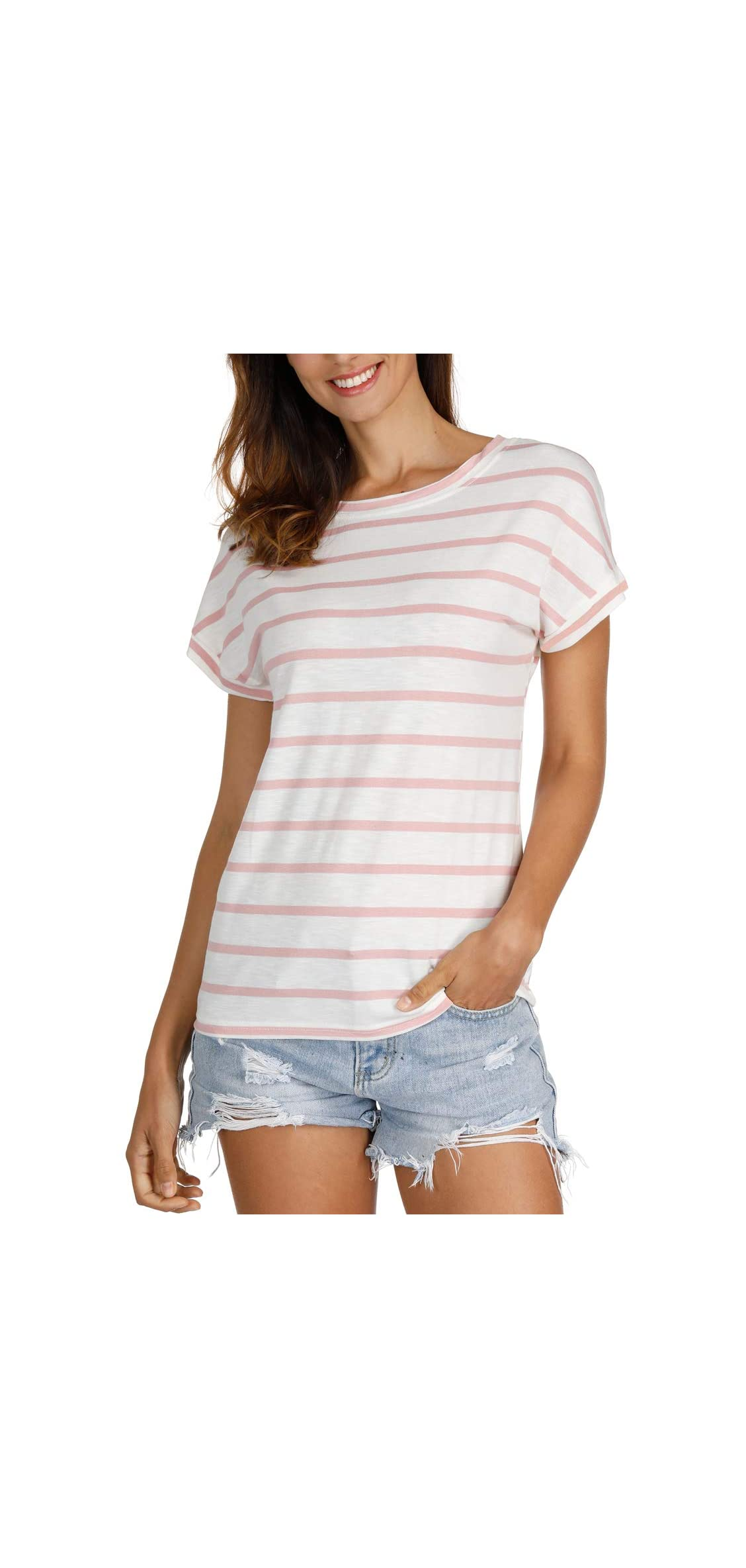 Women's Striped Tops Summer Casual Round Neck Short Sleeve