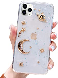 BONITEC for Apple iPhone 11 Pro Case 3D Bling Planet Glitter with Space Sparkle Moon Star Universe Flexible Soft TPU Transparent Clear Shockproof Protective Cases Cover Gold