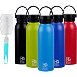 BOGI 600ml Insulated Water Bottle Double Wall Vacuum Stainless Steel Sports Water Bottle Leak Proof Standard Mouth with BPA Free Flex Cap for Outdoor Sports Climbing Camping Hiking + 1 Cleaning Brush