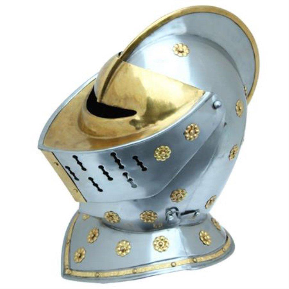 Fully Functional Battle Ready Golden Knight Polished Steel Replica Jousting Helmet Costume LARP