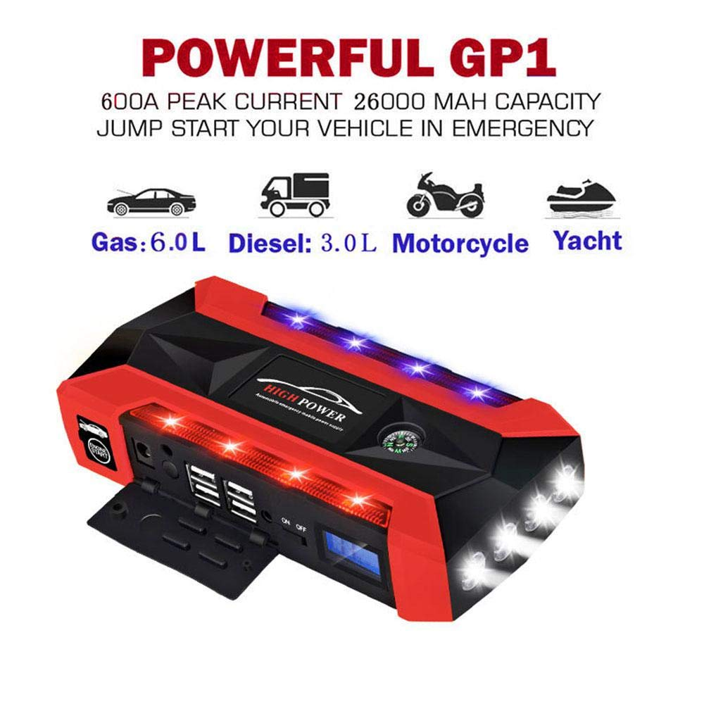 Kobwa Peak Jump Starter Portable Car Jump Starter kit 600 a Peak 20000 mAh auto Booster batteria di emergenza esterna multi-funzione Power Bank 4 porte USB del caricabatteria di torcia LED bussola