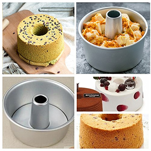 Dealglad® 6 Inch Aluminum Alloy Round Hollow Chiffon Cake Mold Angel Food Cake Pan Baking Mould with Removable Bottom