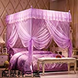 DE&QW Four corner palace mosquito net bed canopy, Open Single door Fall Stent mosquito curtain-purple King