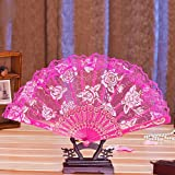 Rose Red Retro Women Flower Floral Lace Folding Hand Fan For Dance Drama Wedding