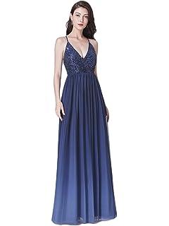 7bc734c9e Ever-Pretty Vestido de Fiesta Noche Largo para Mujer Cuello V Profundo Tul  Lentejuelas Elástico…