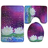 Holy White Lotus.jpeg 3 Piece Bathroom Mats Set Flannel Non-Slip Bathroom Rugs Contour Mat Toilet Cover