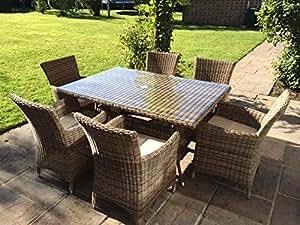 Ratán mesa de jardín de 6plazas de aluminio con agujero para sombrilla Patio conservatery muebles